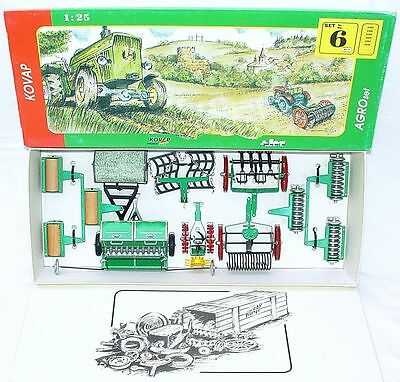 Kovap 1:25 FARM AGRO TRACTOR IMPLEMENT PLOUGH ROLLER CULTIVATOR Tin Model SET`80