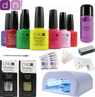 Professional CND Shellac Starter Kit - Choice of up to 10 Top Colours, 36W lamp