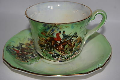 Lovely Vintage Royal Winton china lustre cup saucer set - Hunting Scenes - green