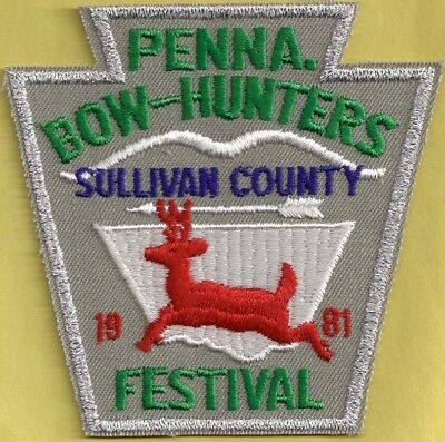 Pa Pennsylvania Fish Game Commission 1981 Sullivan Co Bowhunters Festival Patch