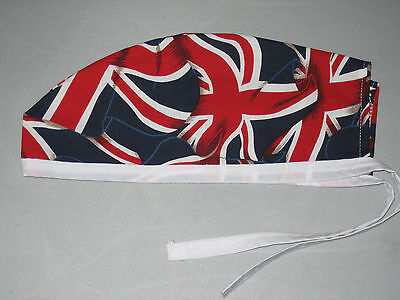 Surgical Scrub Hats/Cap British flags with white ties