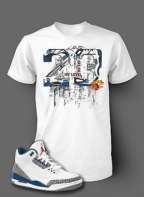 StreetWear 23 Shatter Tee Shirt To Match AIR JORDAN 3 TRUE BLUE Shoe Men White