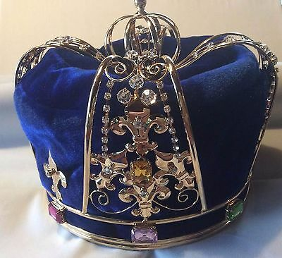King's Pageant Crown Blue Velvet & Gold-plated metal with faux jewels