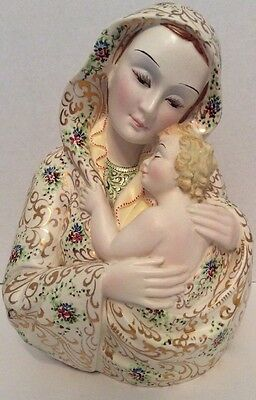 Hand Painted Italy Vintage Madonna And Child Ceramic Bust 1960's ?