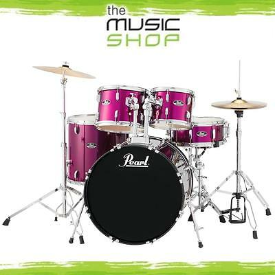 New Pearl Roadshow 5 Piece Fusion Drum Kit with Cymbals & Hardware - Pink Metal