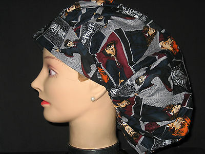 Surgical Scrub Hats/Caps Harry Potter characters on block print gray fabric