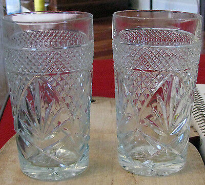 """2-Anchor Hocking Early American Prescut Pattern  5 1/4"""" tall US 24"""
