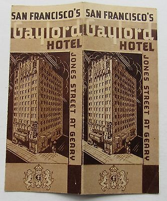 Brochure For The Gaylord Hotel San Francisco 1940's