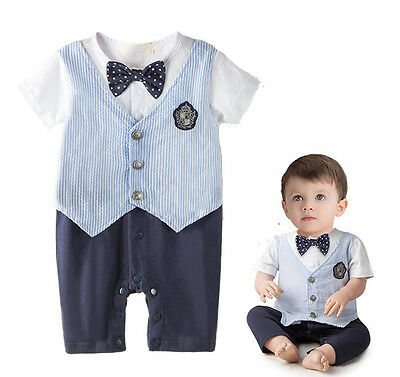 Baby Boy Newborn Toddler Gentleman Romper Bowknot Formal Outfit Wedding Clothes