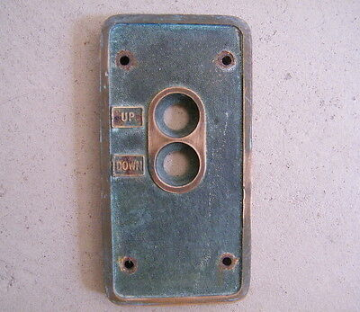 "Vintage Brass Elevator ""UP DOWN"" Switch Button Panel Cover"