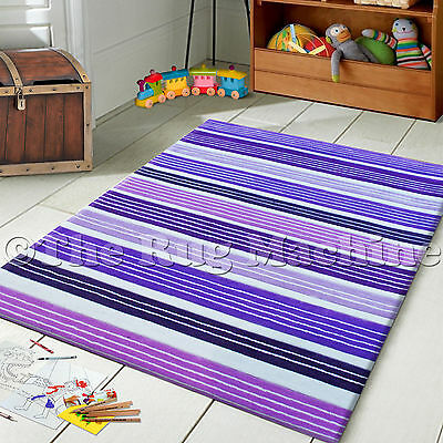 HIP HOP KIDS MULTI STRIPES PURPLE THICK ACRYLIC FLOOR RUG 115x165cm **NEW**