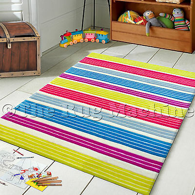 HIP HOP KIDS MULTI STRIPES COLOURFUL THICK ACRYLIC FLOOR RUG 115x165cm **NEW**