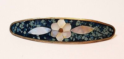 Vintage Taxco Mexico Sterling Silver Turquoise Mother of Pearl Coral Barrette