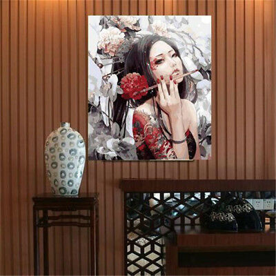 "DIY Paint By Numbers 16""*20"" Kit Beautiful Girl  Painting On Canvas Home Decor"