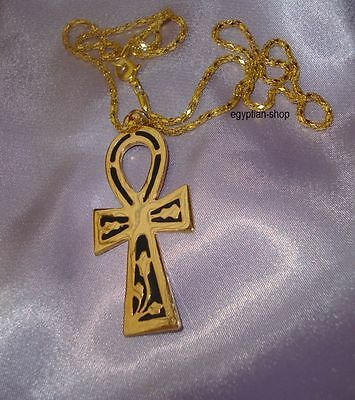 Egyptian ANKH -Key of Life - Necklace - Goldtone + Black Enamel #3732   NEW