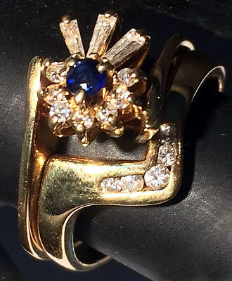Diamond Baguettes Sapphire 18ct Gold Engagement+Wedding Ring inc Valuation $2850