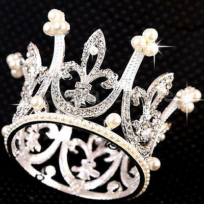 Super Mini Circle Round Pearl Crown Kid Bridal Princess Rhinestone Tiara Crowns