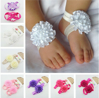 Newborn Baby Girl Foot Flower Ruffle Shoes Sandals Socks Photo Props Accessories
