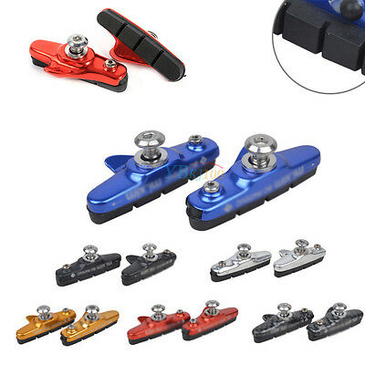 1 Pair Alloy Mountain Road Bicycle Cycling Bike Brake Rubber Blocks Pads Holder