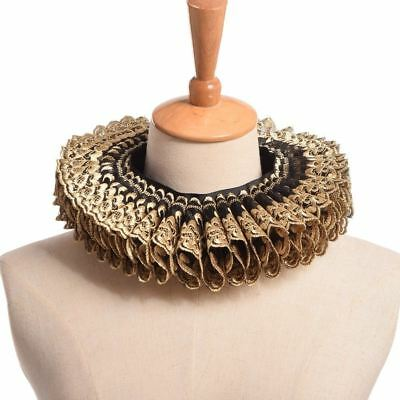 Gold Black Ruffled Collar Elizabethan Cosplay Gift Vintage Renaissance Neck Ruff