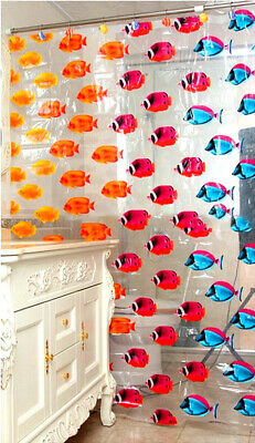 Quality Transparent Shower Curtain Fish Transparent Plastic Bathroom 180 x 200cm