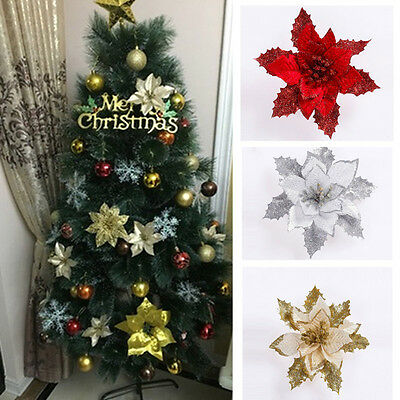 1x Christmas Flowers Tree Decor Gold/Silver/Red Xmas Decoration Ornaments