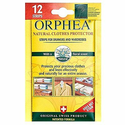 12 Orphea Moth Repellent Strips For Drawers & Wardrobes All Natural Floral from