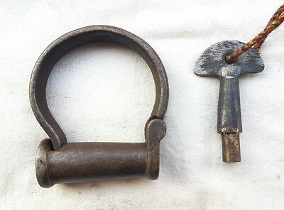 Old Vintage Antique Strong Rare Handcrafted Heavy Iron Handcuffs Lock & Key