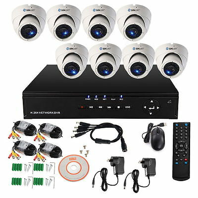 8CH Home CCTV Security System DVR NVR Recorder Outdoor 800TVL IR Dome Camera