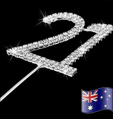 21st Birthday Diamanté Cake Topper Crystal Rhinestones #21 Party Sparkling