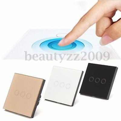 Crystal Glass Panel Smart Touch Wall Light Switch 1 2 3 Gang 1Way Remote Control