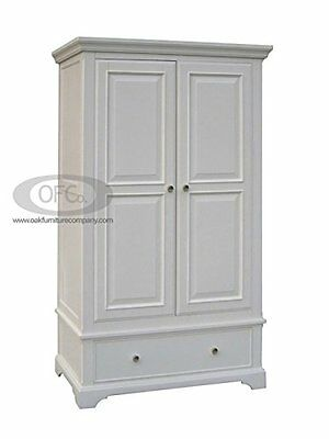 Aspen White Painted Pine Double Wardrobe with Drawer