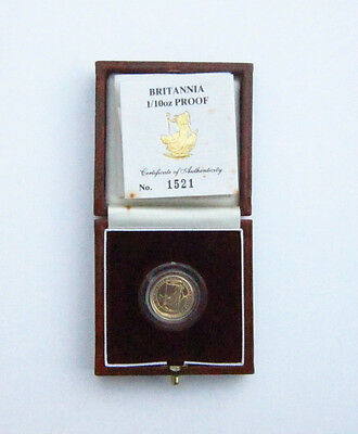 1990 CASED ROYAL MINT BRITANNIA 1/10th GOLD  PROOF £10 COIN WITH C.O.A