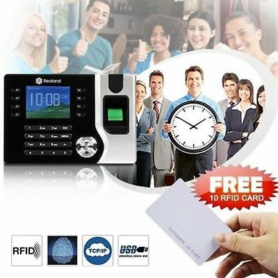 Realand Biometric Fingerprint Time Attendance Clock TCP/IP USB + 10pcs RFID Card