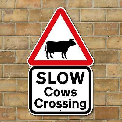 COWS CROSSING SIGN. ROBUST FULLY WEATHERPROOF ANIMAL SAFETY SIGN, Cow Sign