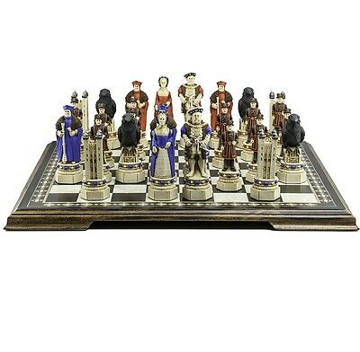 Studio Anne Carlton TOWER OF LONDON Hand Painted CHESS PLAYING PIECES Set