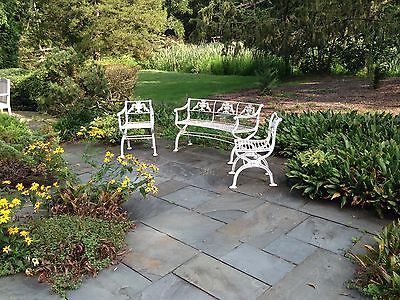 Rare 3 piece set Antique Neoclassical Cast Iron Garden Bench & chairs Victorian