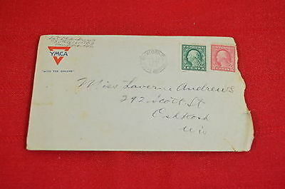 World War I Letter YMCA Stationery From Camp Grant IL to Brillion WI (#5)  900