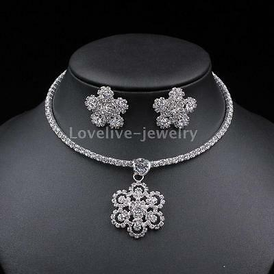 Beautiful Flower Crystal Choker Necklace Earrings Diamante Bridal Jewelry Set