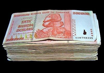 30 x Zimbabwe 50 Billion Dollar banknotes-AA/AB 2008/circulated currency
