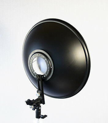 "16.5"" Beauty Dish Silver Reflector with Flash Bracket Mount & Diffusion Sock"