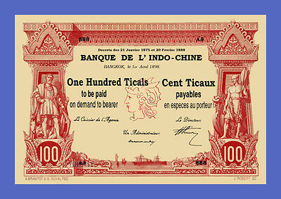 THAILAND Indochine - 100 Ticals - 1898s - Reproductions