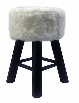 New White Faux Fur Round Stool With 4 Black Wooden Legs Classic Footstool Chair
