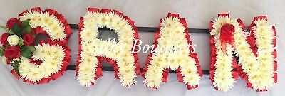 Gran Artificial Silk Funeral Flower Any 4 Letter Chrysanthemum Name Wreath Aunt