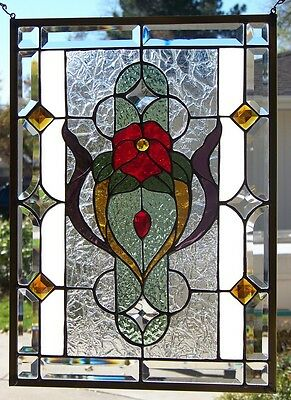 "Stained Glass window hanging 21 3/4 X 15 3/4""  Polished Brass Frame"