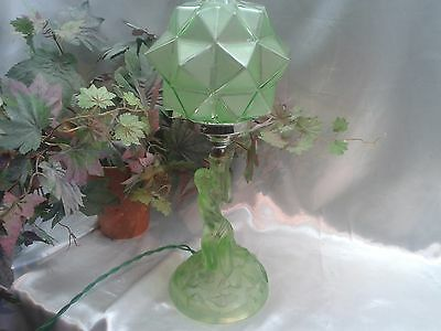 Rare Exquisite Art Deco Walther Sohne Green Uranium Glass Rotterdam Lamp Rewired
