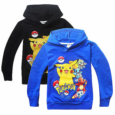 NEW Pokemon Go Boy Girl Kids Clothes Pikachu Sweatshirt Cotton Hoodies Outwear