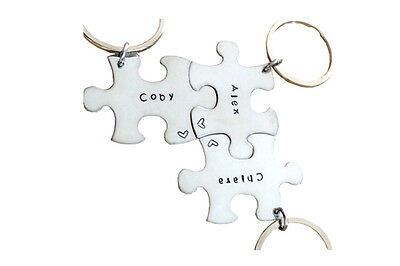 Personalized Key chain - Custom Puzzle Piece - Engraved Any Name - SET of Three