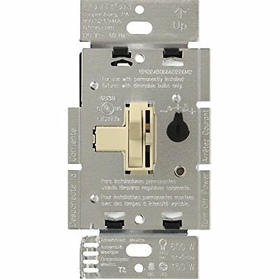 Lutron TGCL-153PH-IV Toggler CFL/LED Single-Pole/3-Way Toggler Dimmer, Ivory