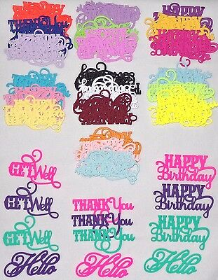 Word Die Cuts Hello Get Well Thank you Happy Birthday U Pick the Color Selection